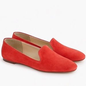 J. Crew Red Suede Smoking Slippers Loafers